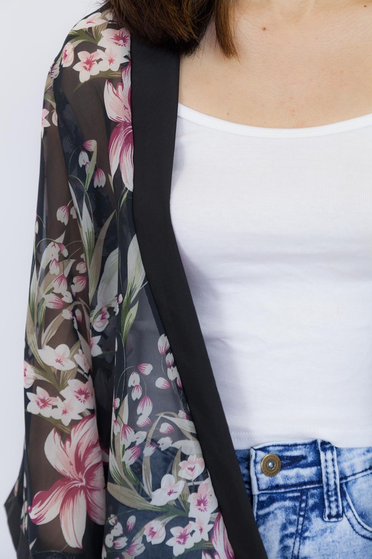 Lily Print Kimono Top - Black