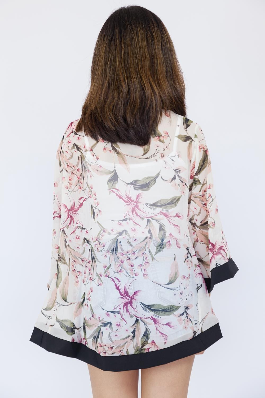 Lily Print Kimono Top - White