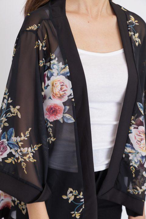 Floral Rose Print Chiffon Kimono Top - Black