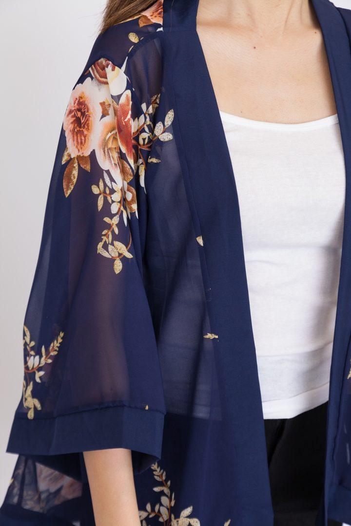 Floral Rose Print Chiffon Kimono Top - Navy Blue