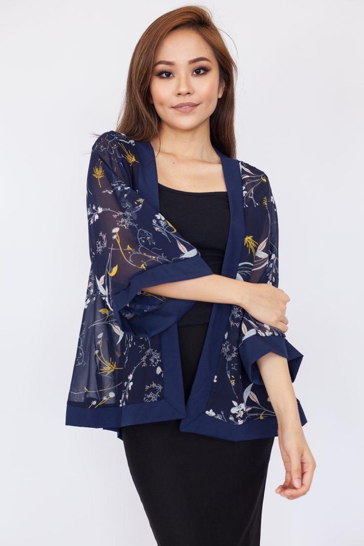 Miniature Floral Print Kimono Top - Navy Blue