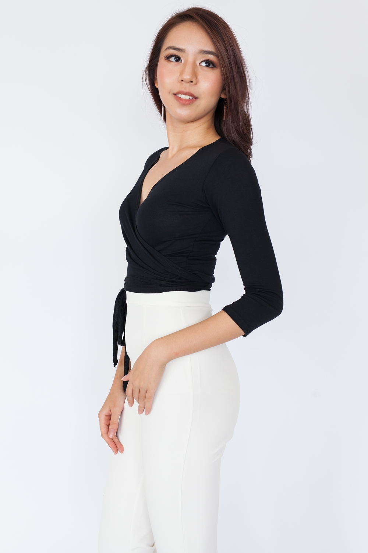 Long Sleeve Basic Wrap Top - Black