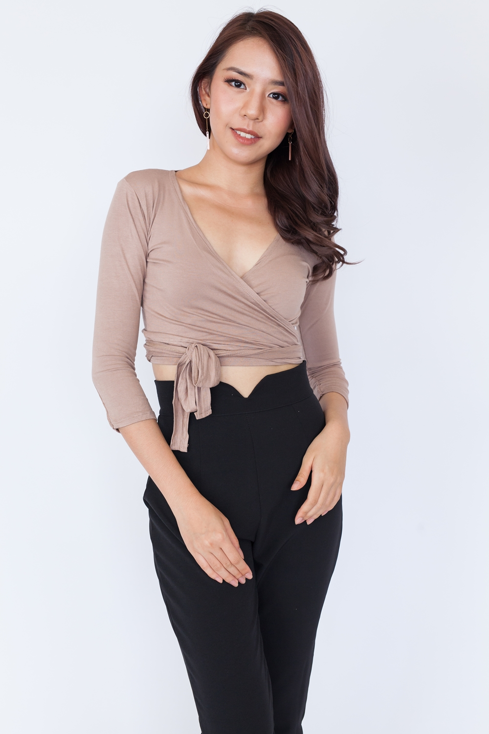 Long Sleeve Basic Wrap Top - Khaki
