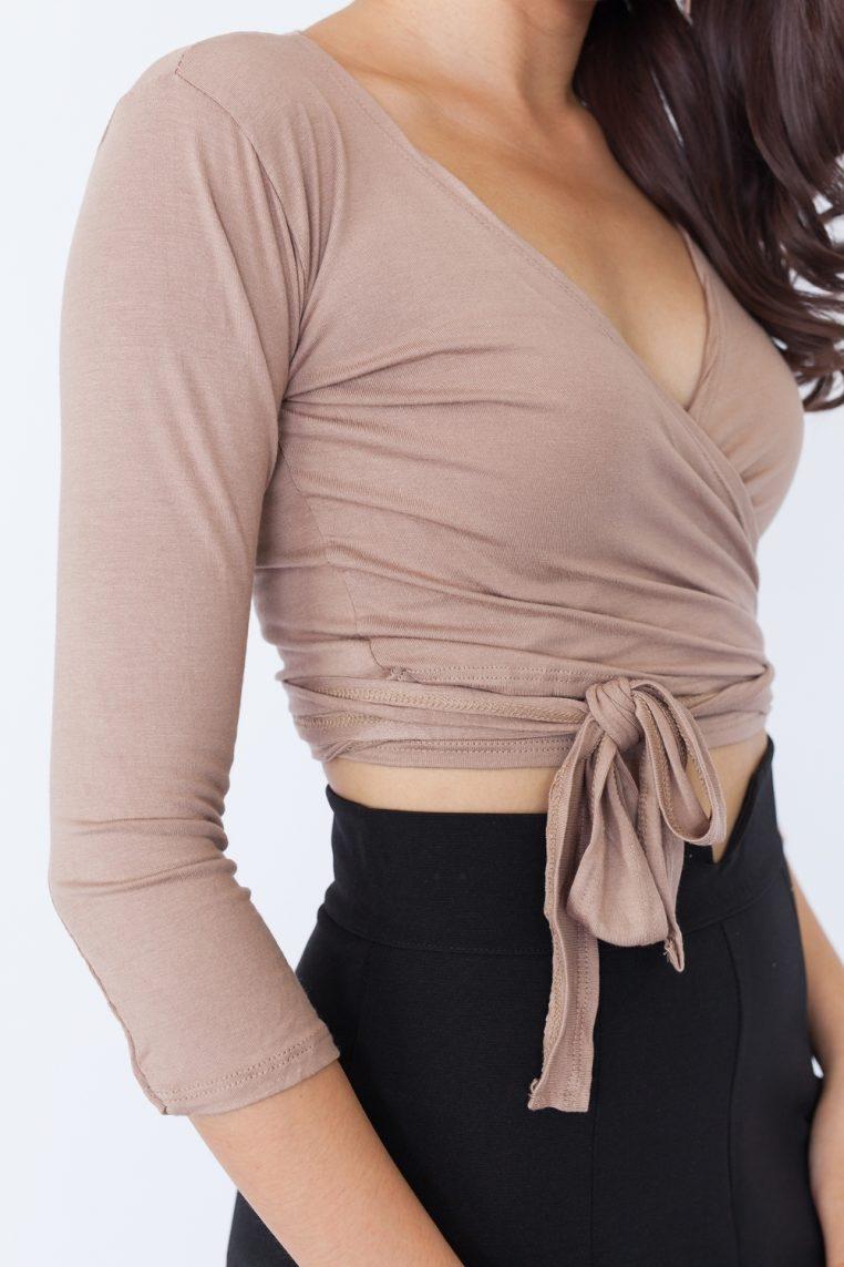 Long Sleeve Basic Wrap Top - Khaki