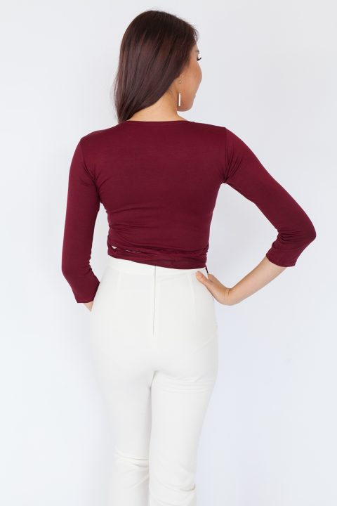 Long Sleeve Basic Wrap Top - Maroon
