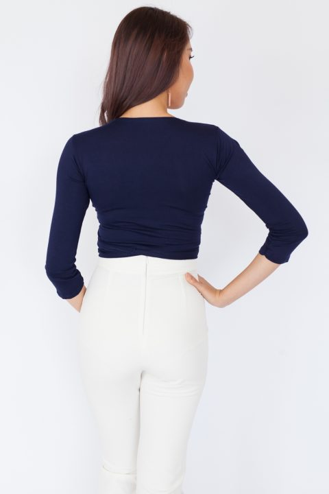 Long Sleeve Basic Wrap Top - Navy Blue