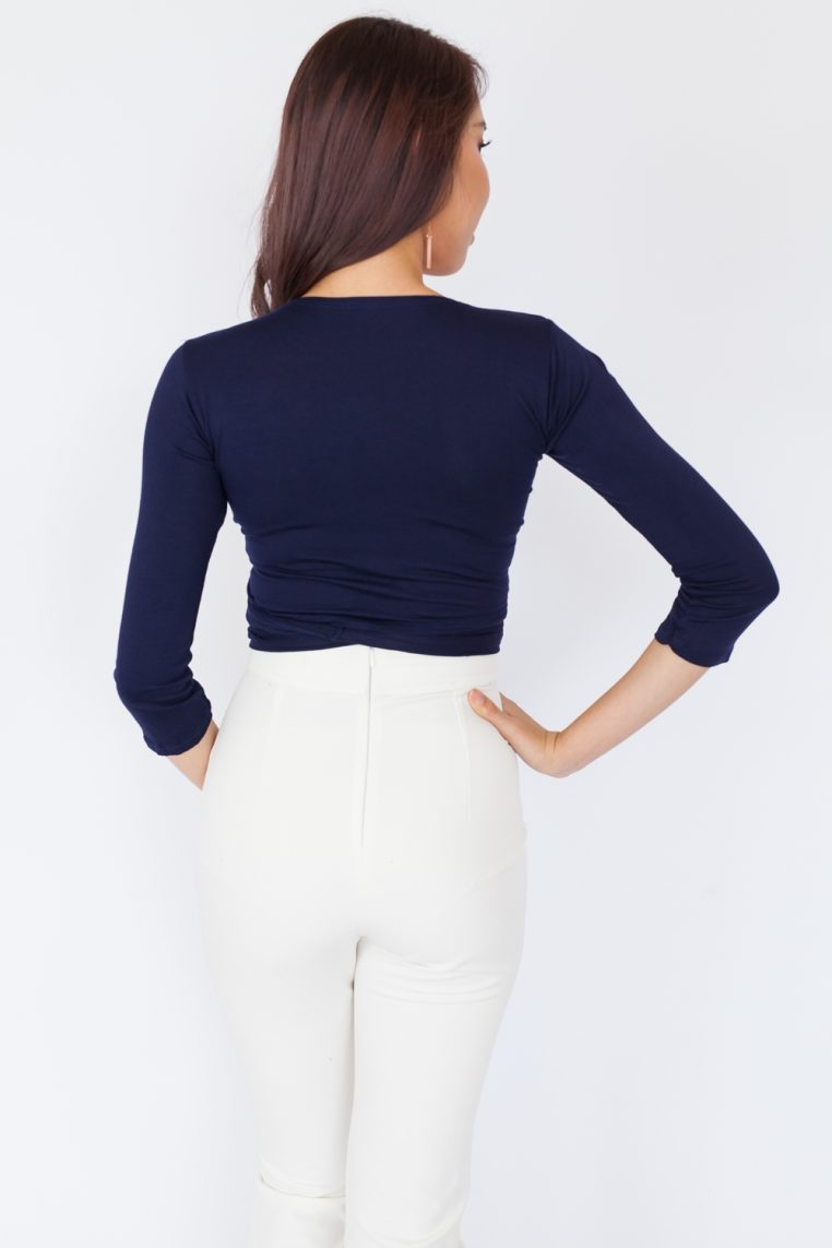 Long Sleeve Basic Wrap Top - Navy Blue
