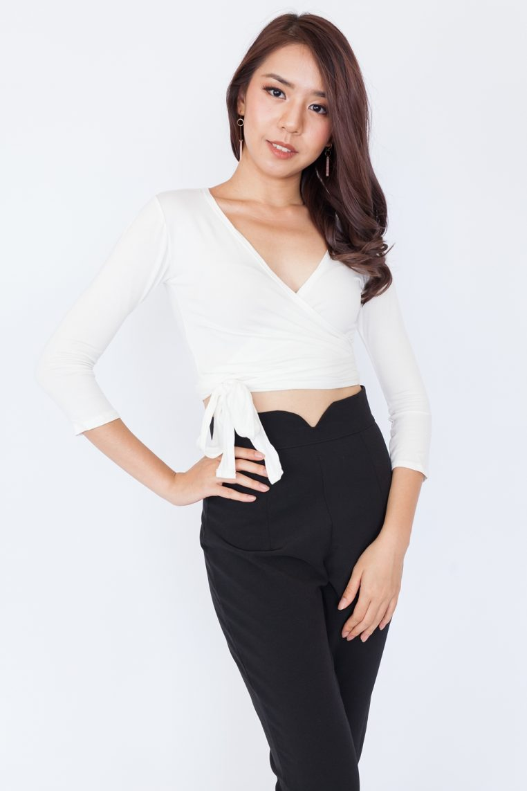 Long Sleeve Basic Wrap Top - White