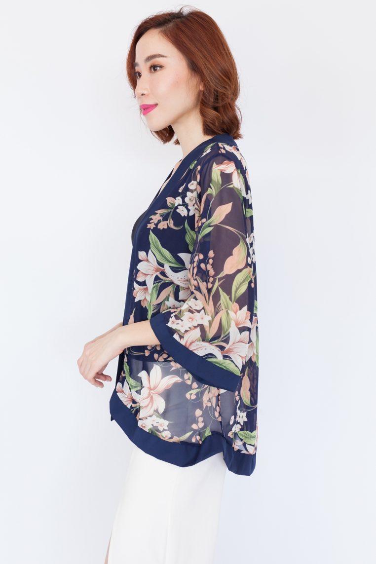 Lily Print Kimono Top – Navy Blue