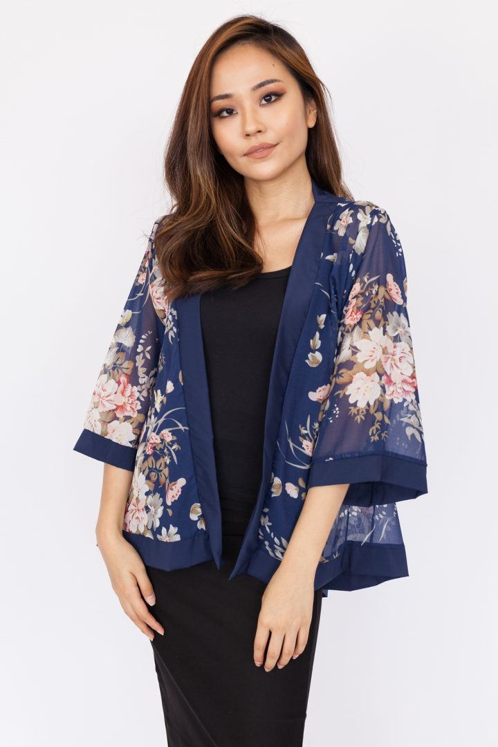 English Floral Chiffon Kimono Top - Navy Blue