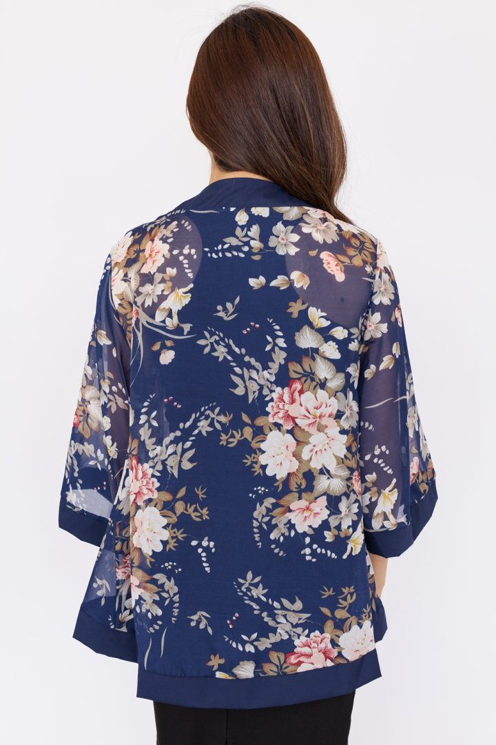 English Floral Chiffon Kimono Top - Navy Blue