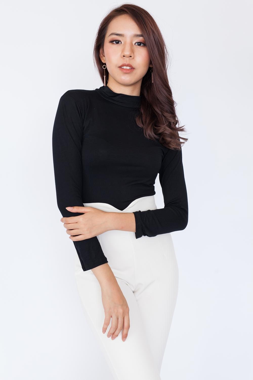 b28bf9967e9c40 Basic High Neck Long Sleeve Top – Black – Hook Clothing