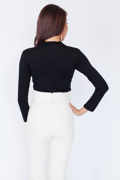 Basic High Neck Long Sleeve Top – Black