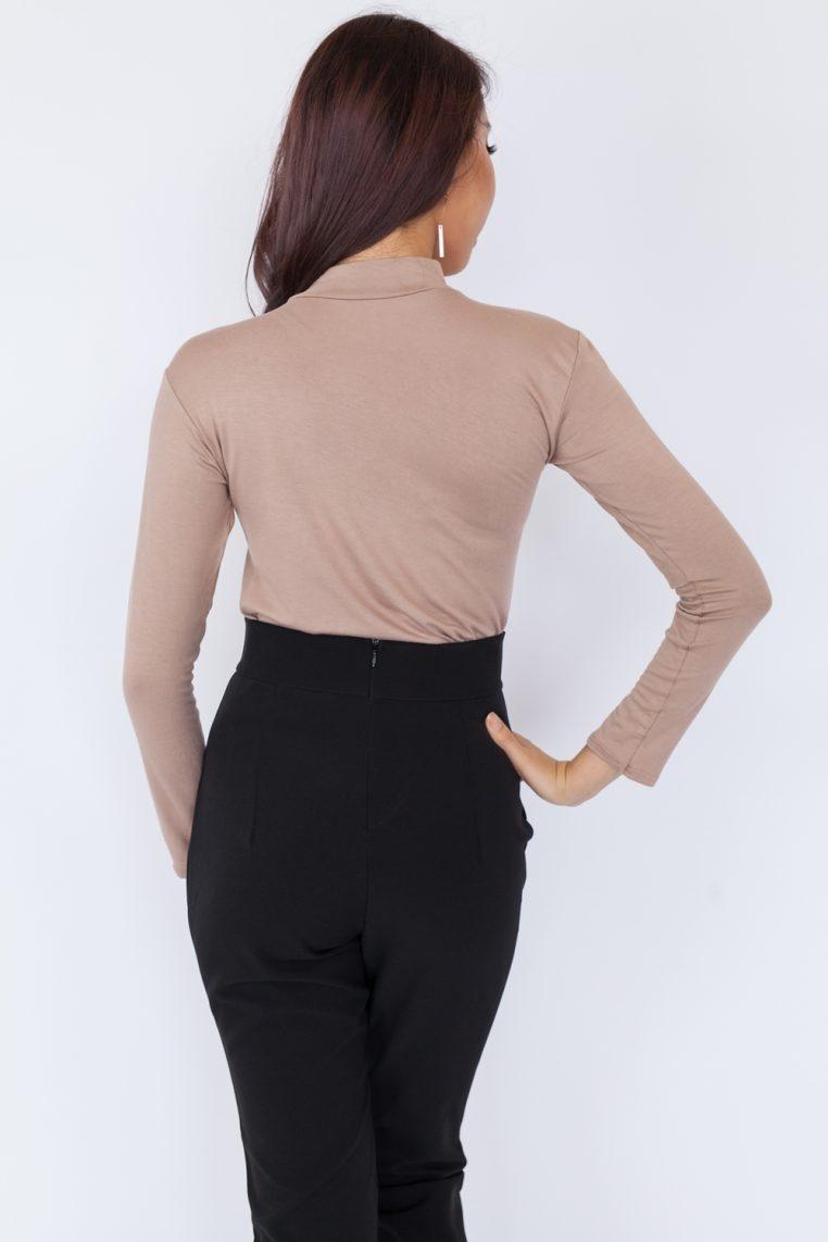 Basic High Neck Long Sleeve Top – Khaki