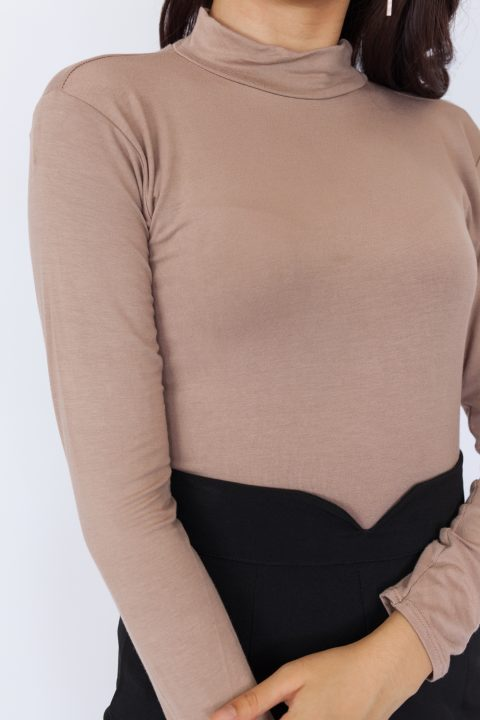 Basic High Neck Long Sleeve Top – Khaki