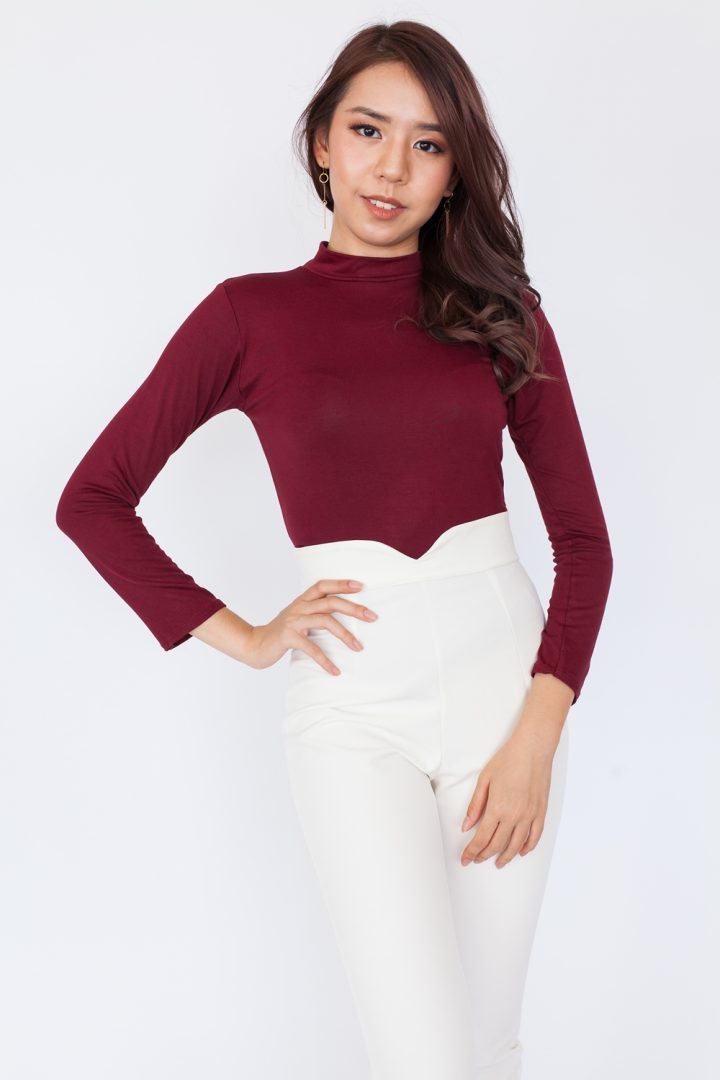 Basic High Neck Long Sleeve Top – Maroon