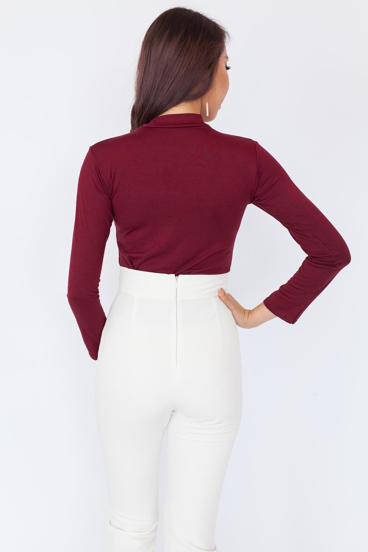 Basic High Neck Long Sleeve Top – Maroon