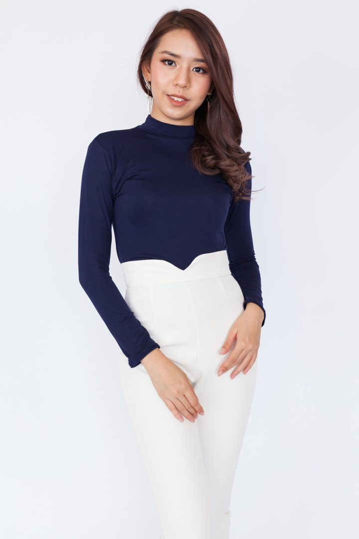 Basic High Neck Long Sleeve Top – Navy Blue