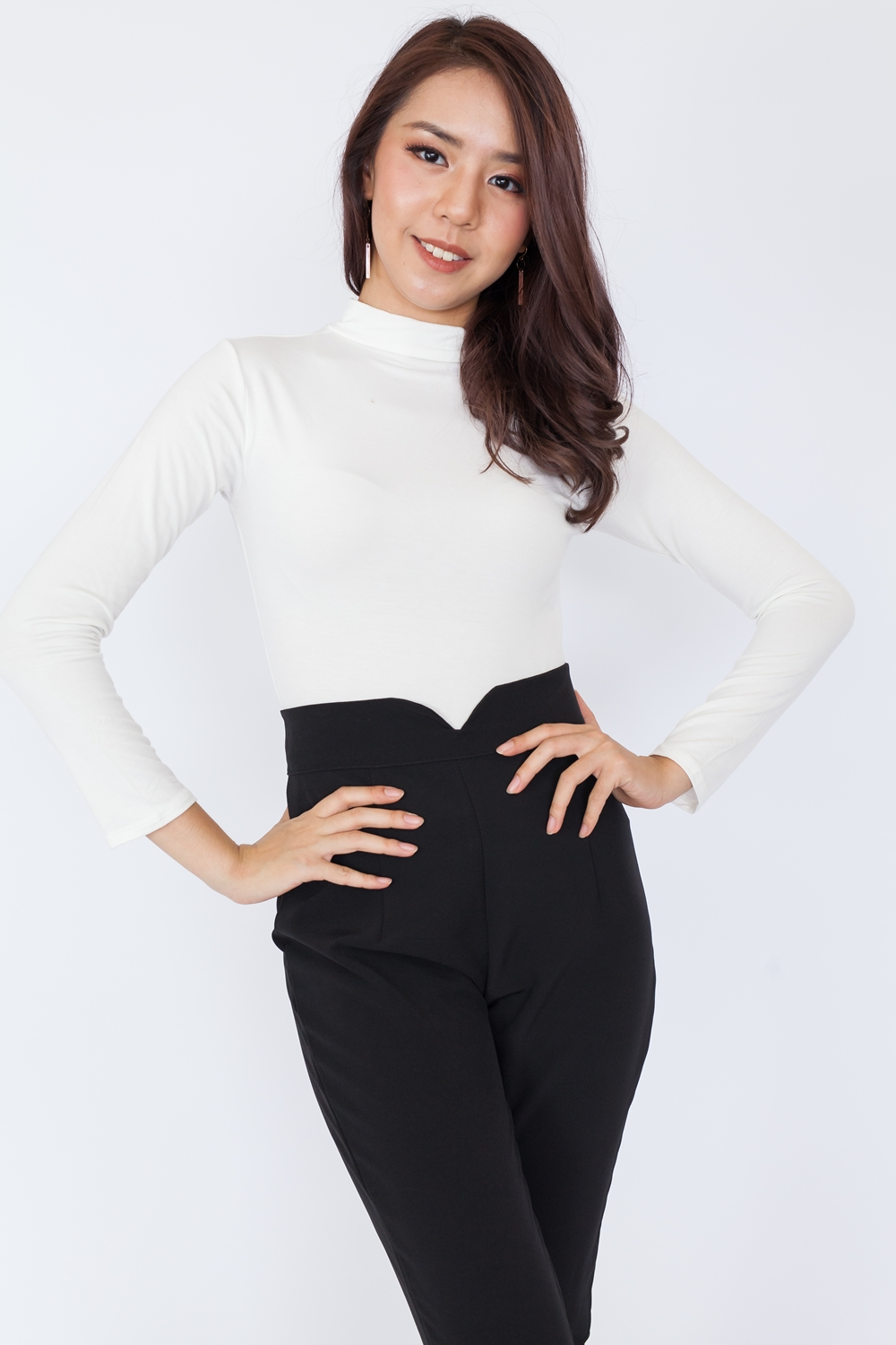 Basic High Neck Long Sleeve Top – White