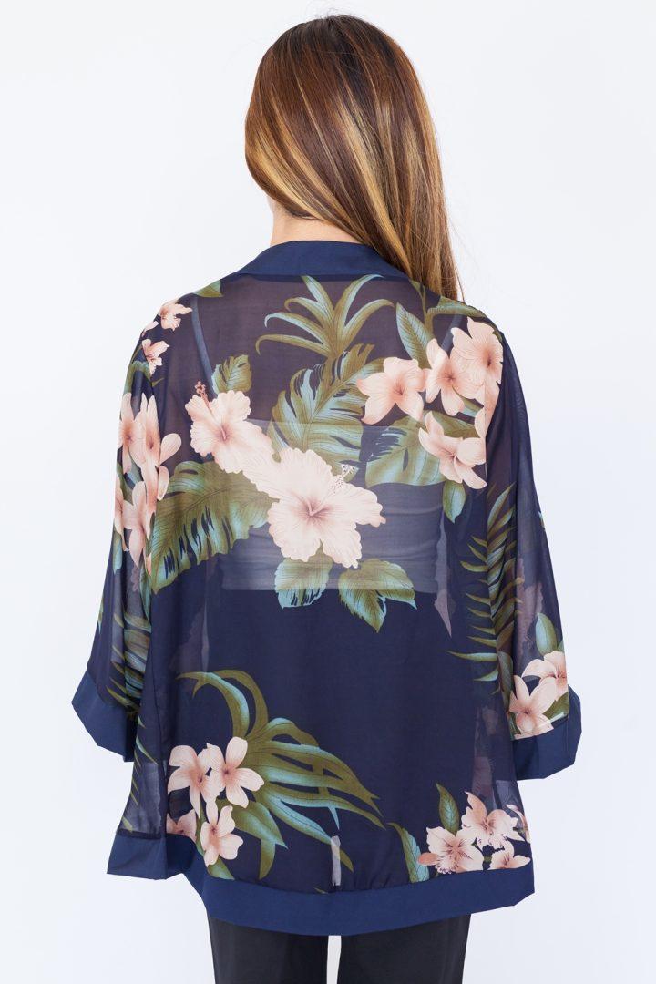 Hibiscus Chiffon Kimono Top – Navy Blue