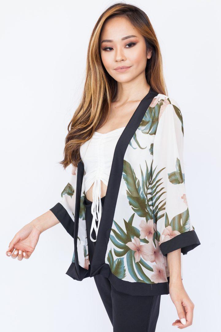Hibiscus Chiffon Kimono Top – White