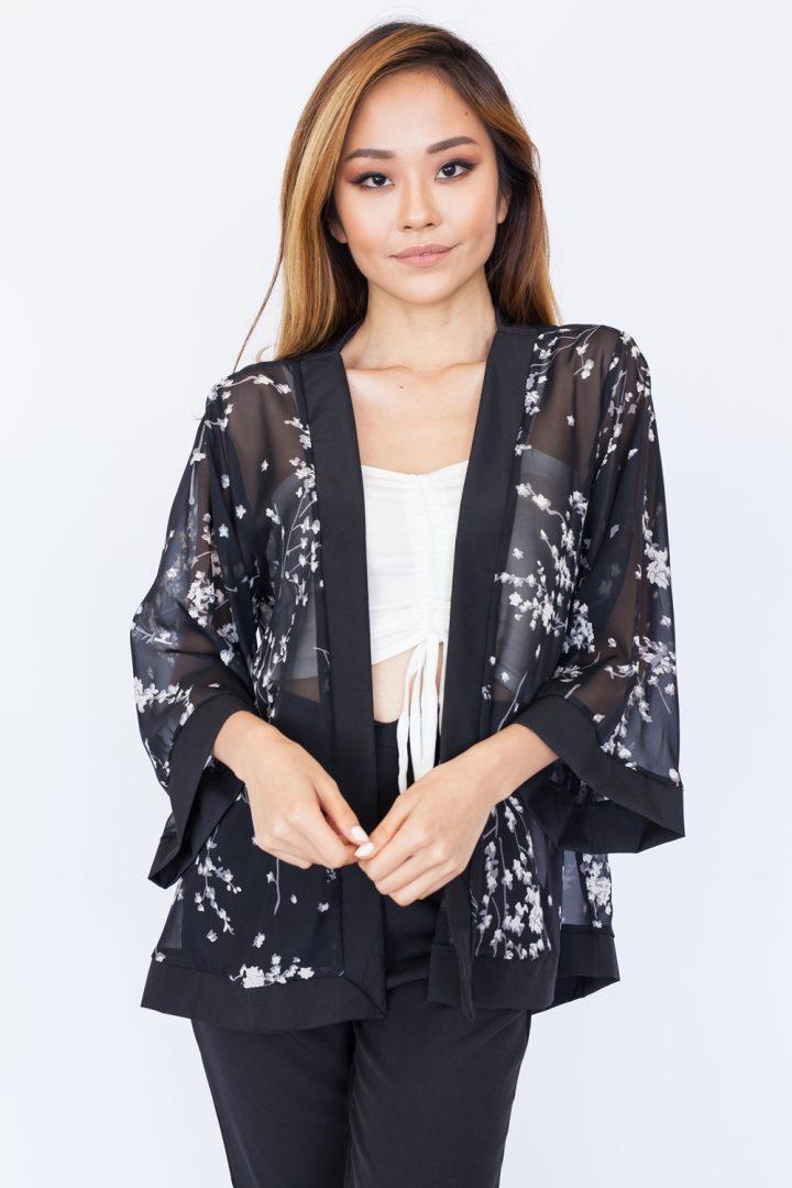 Sakura Chiffon Kimono Top – Black