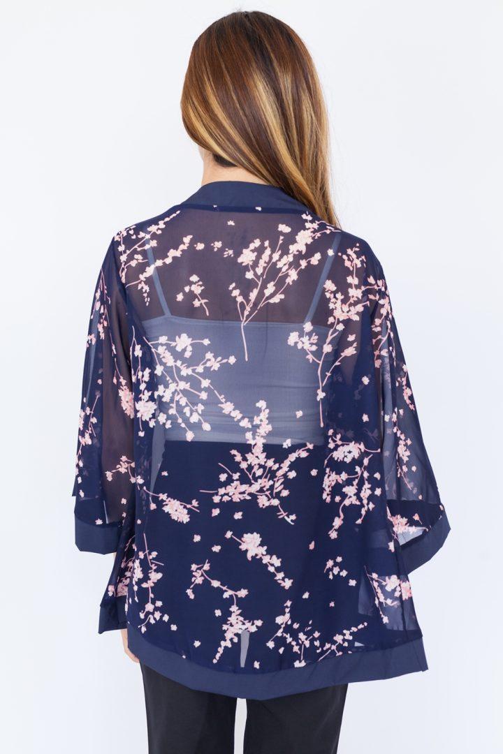 Sakura Chiffon Kimono Top – Navy Blue