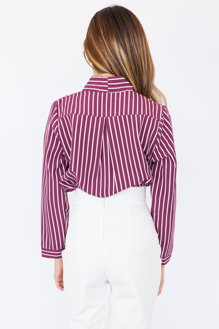 Striped Draped Blouse - Maroon