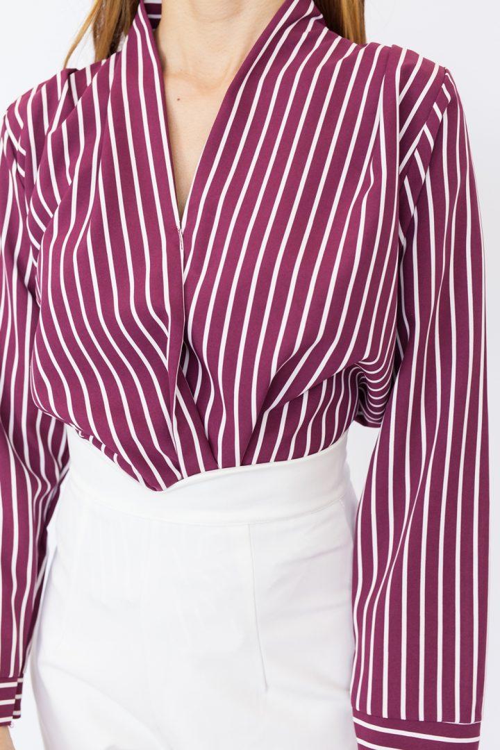 Striped Draped Blouse - Maroon