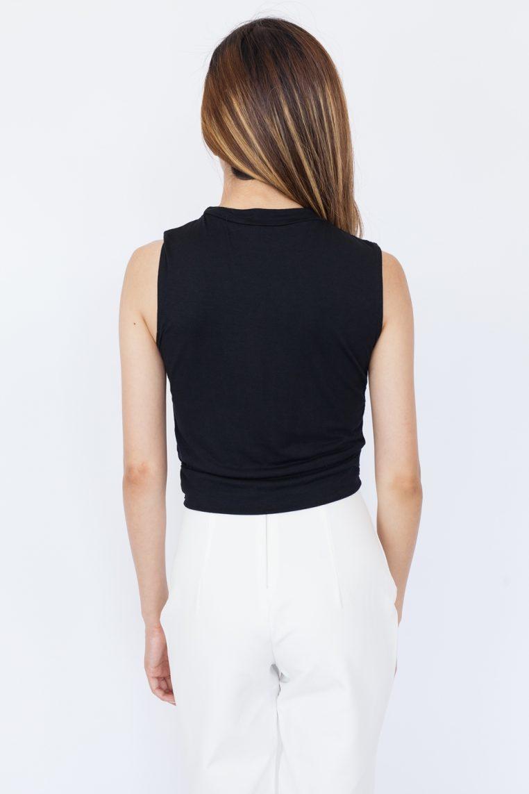 Sleeveless Twist Front Crop Top - Black