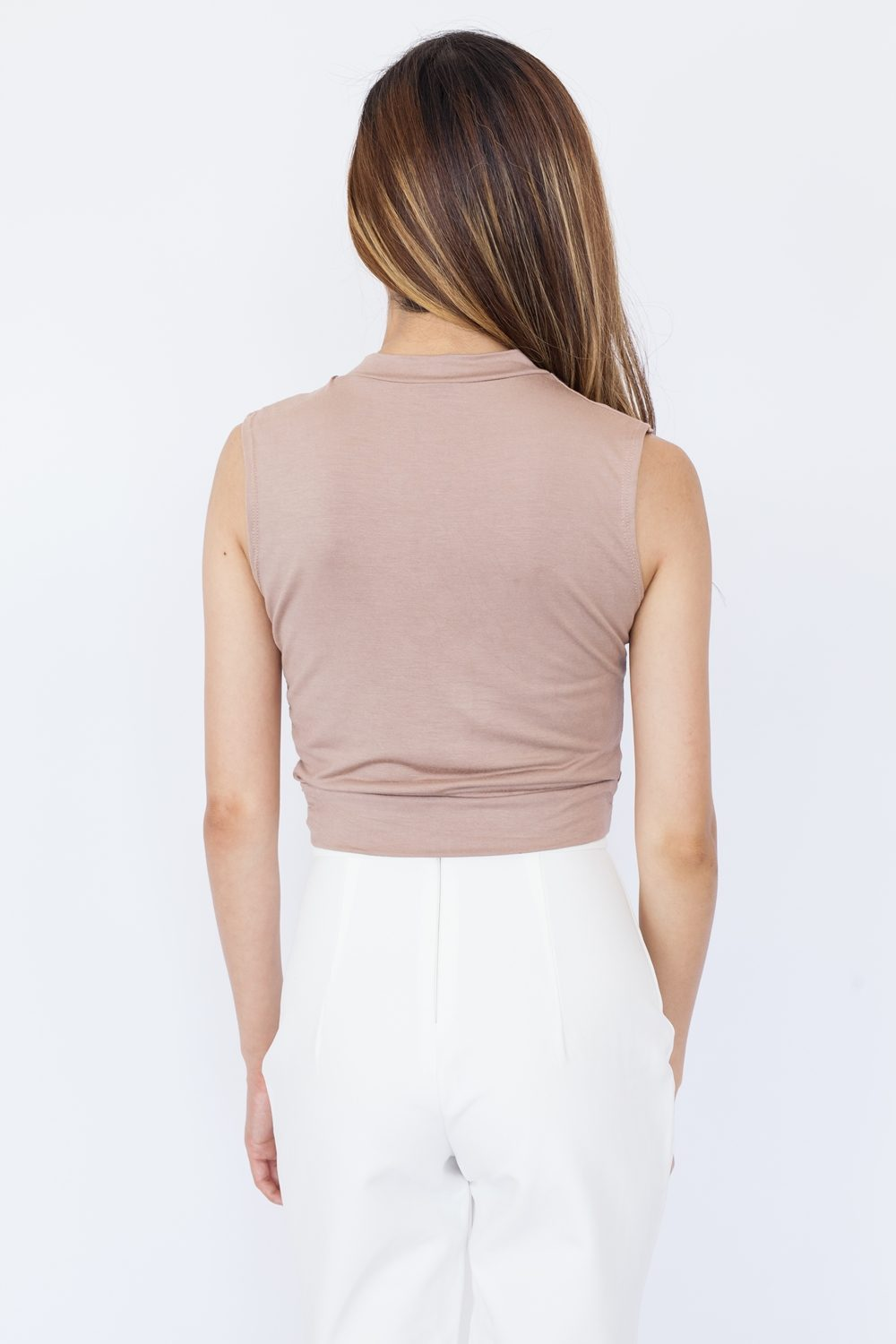 Sleeveless Twist Front Crop Top - Khaki