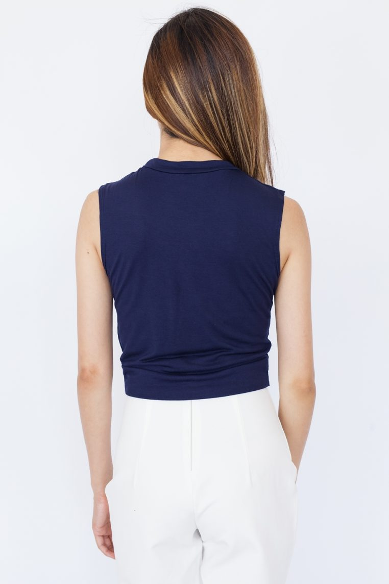 Sleeveless Twist Front Crop Top - Navy Blue