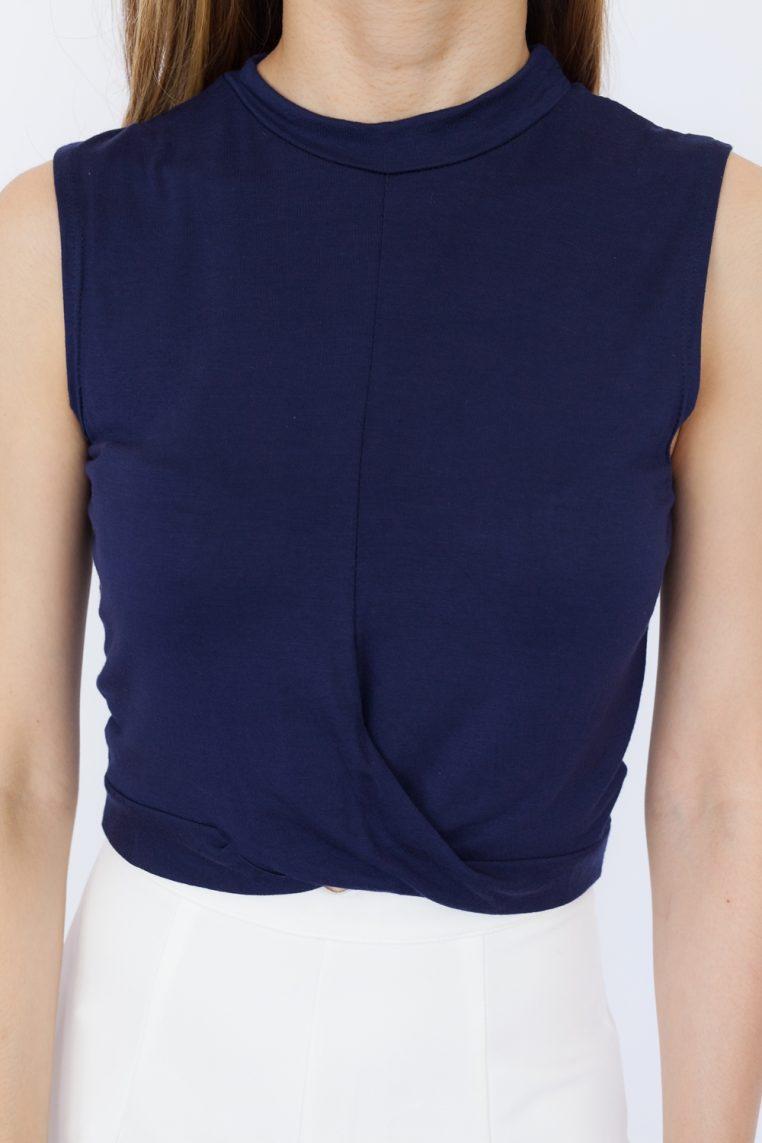 Sleeveless Twist Front Crop Top - Navy Blue