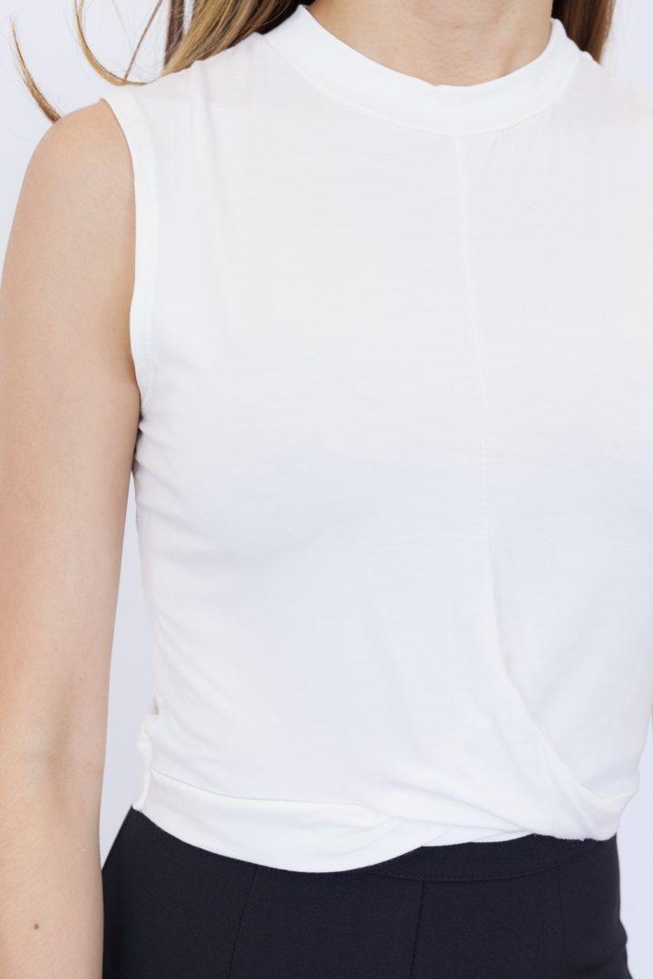 Sleeveless Twist Front Crop Top - White